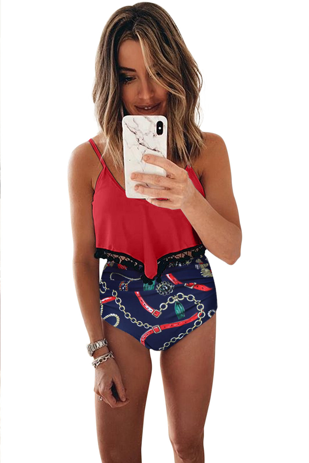 Red Print High Waist Swimsuit
