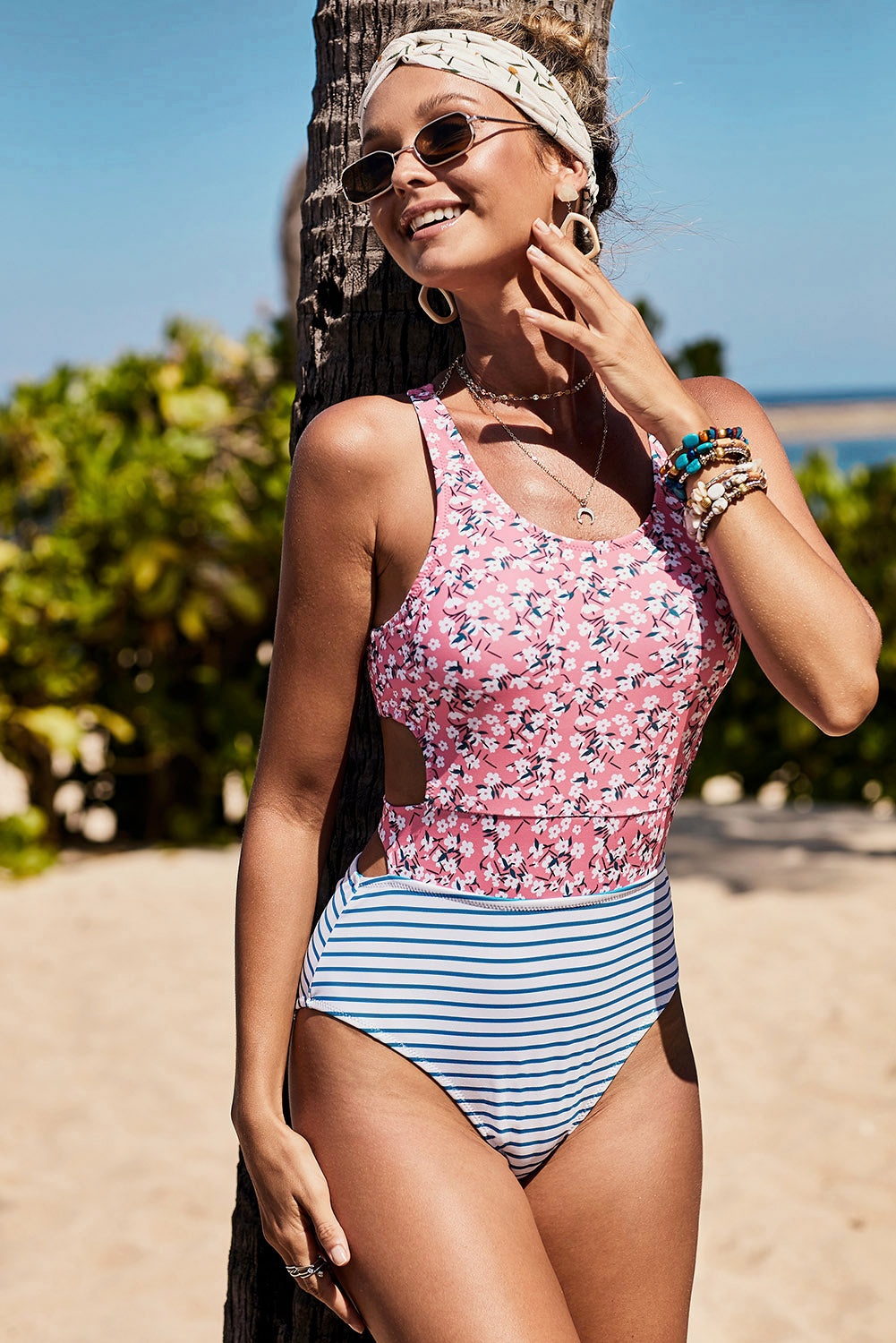 Pink Printed Zipped Racerback Maillot