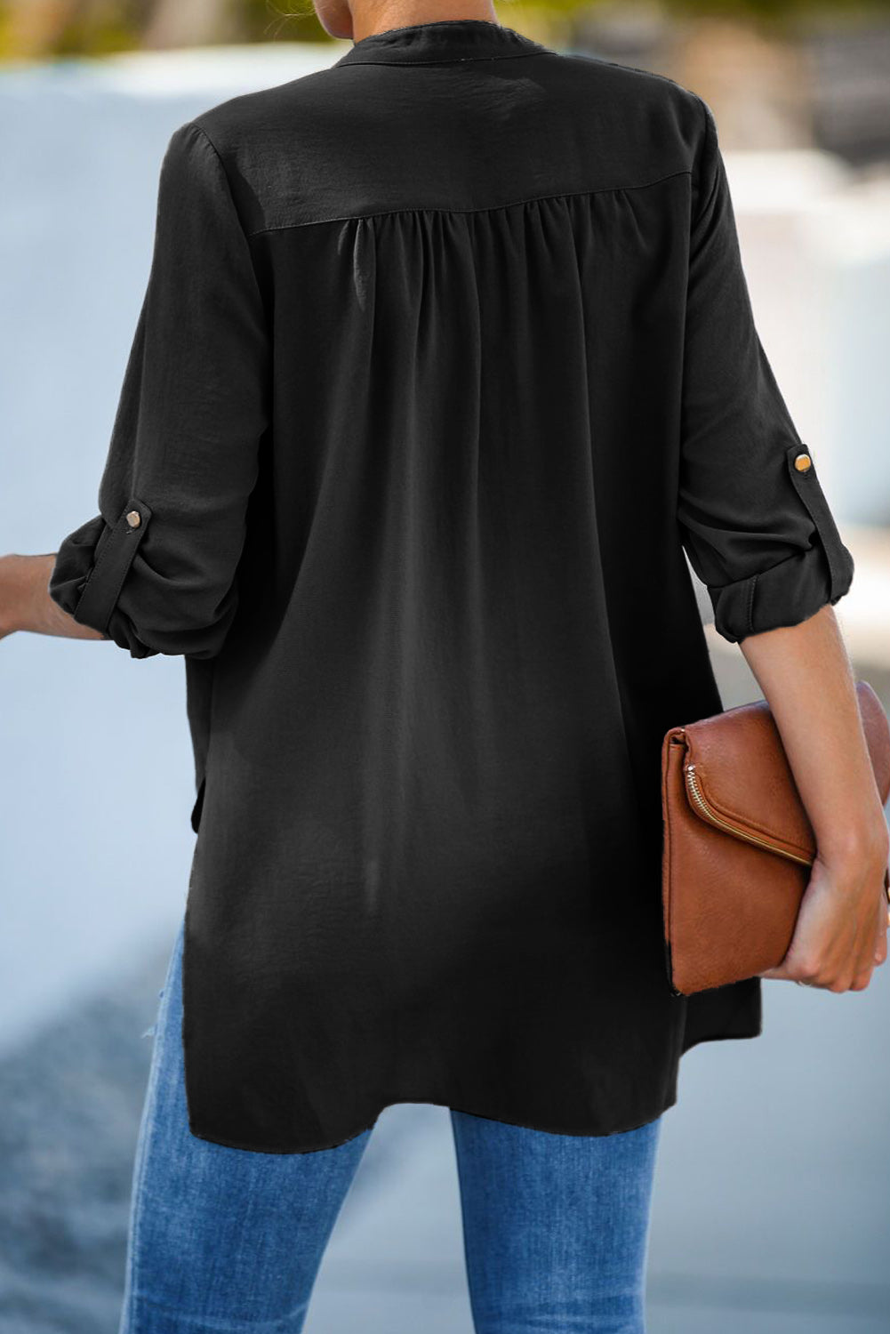 Black Get You Covered Drape Front Layered Blouse