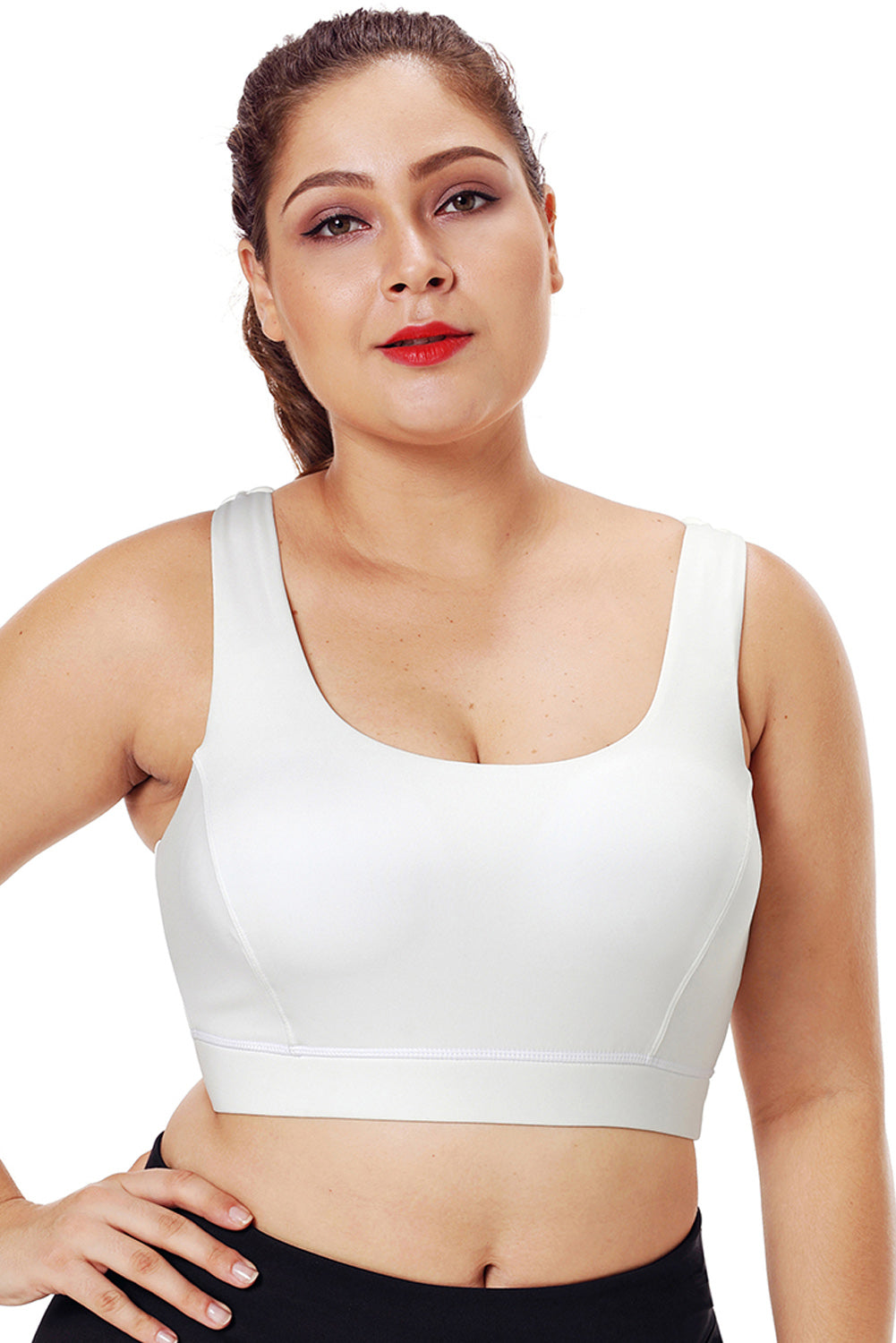 White Plus Size Racerback U-shaped Neck Sport Bra