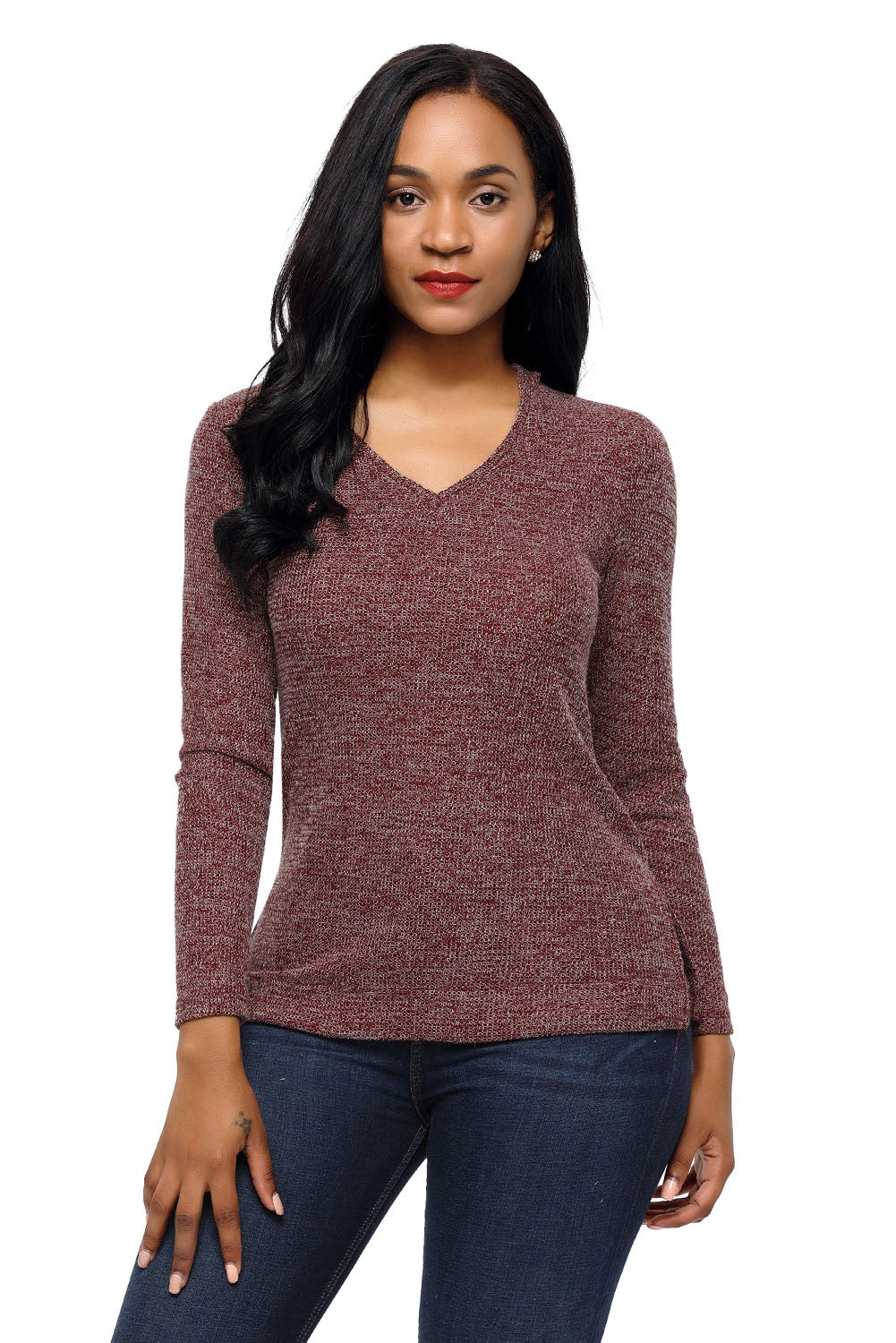 Wine Long Sleeve Knit Hooded Top