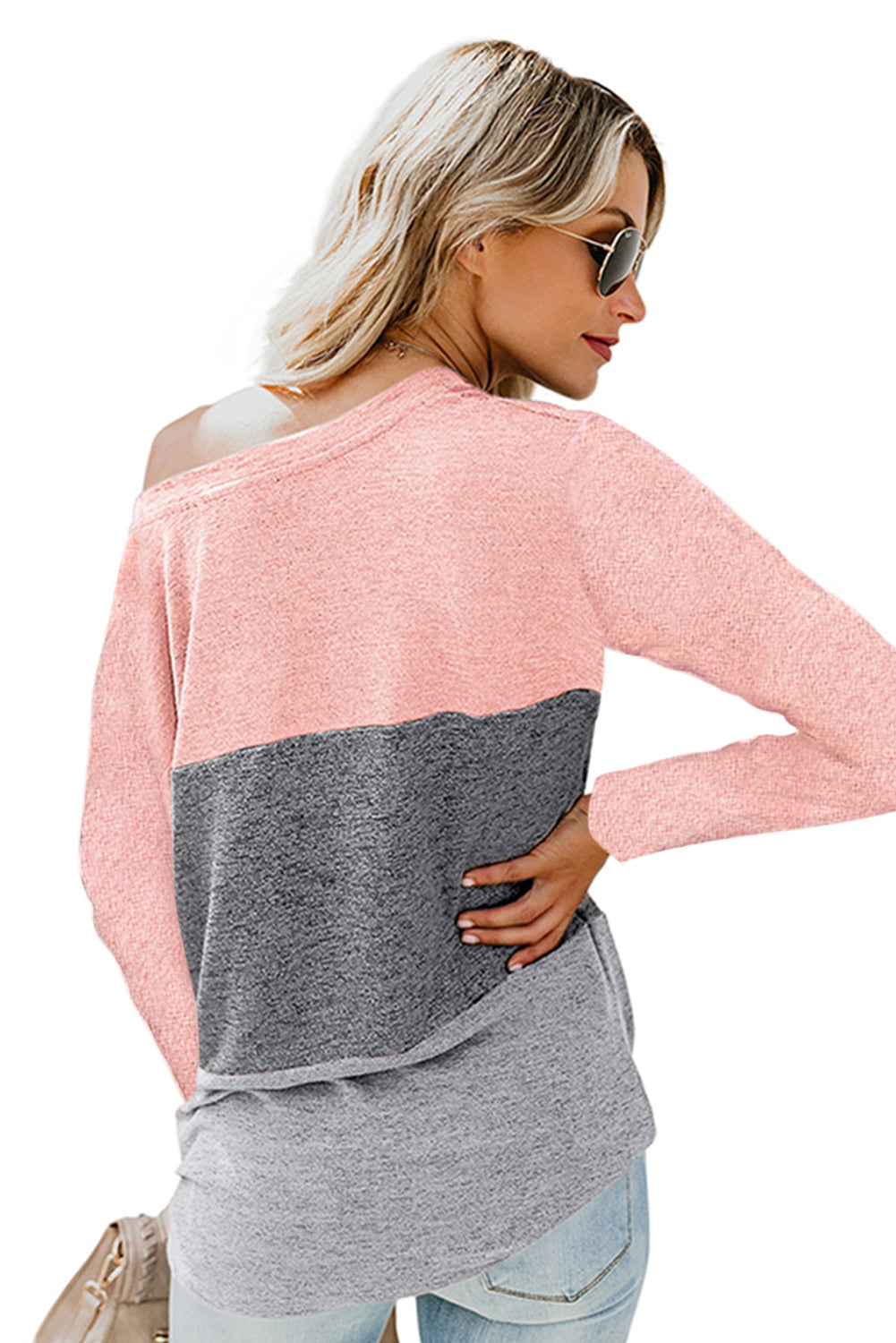 Pink Color Block Crew Neck Blouse