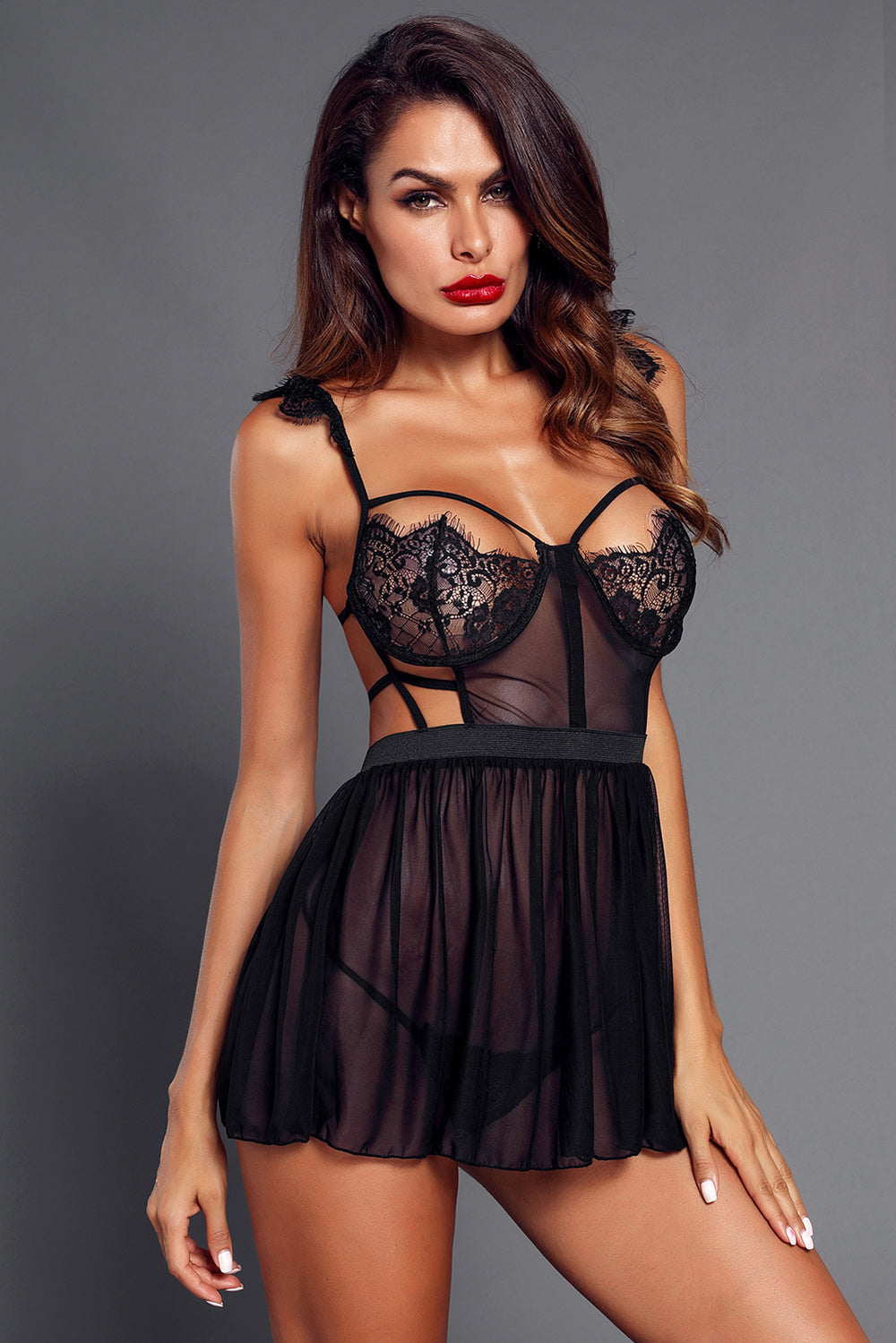 dc9a54f53a0 Solid Black Eyelash Lace Trim Babydoll with Thong – FabWoo
