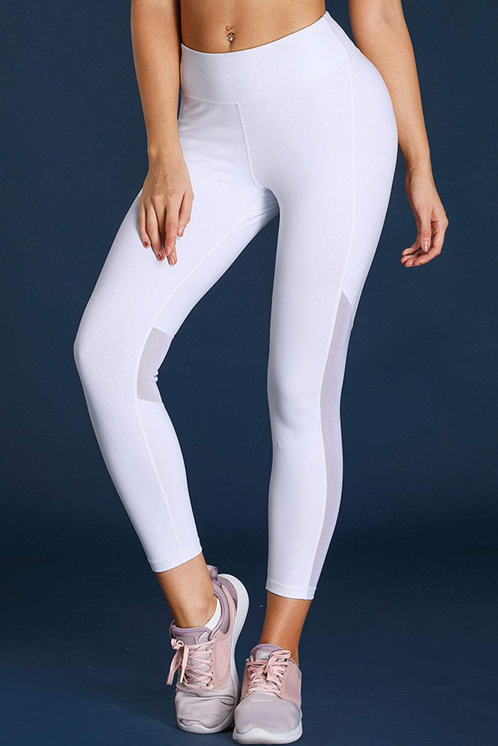 White High-Rise Mesh Patchwork Gym Sport Yoga Leggings