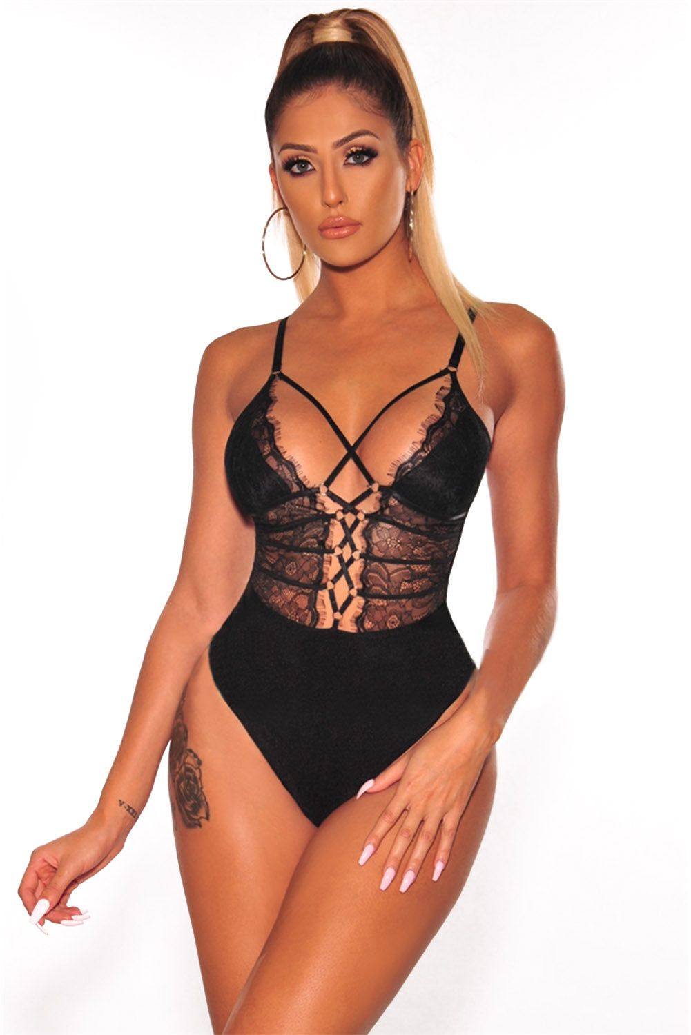 Black Sheer Lace up Bodysuit