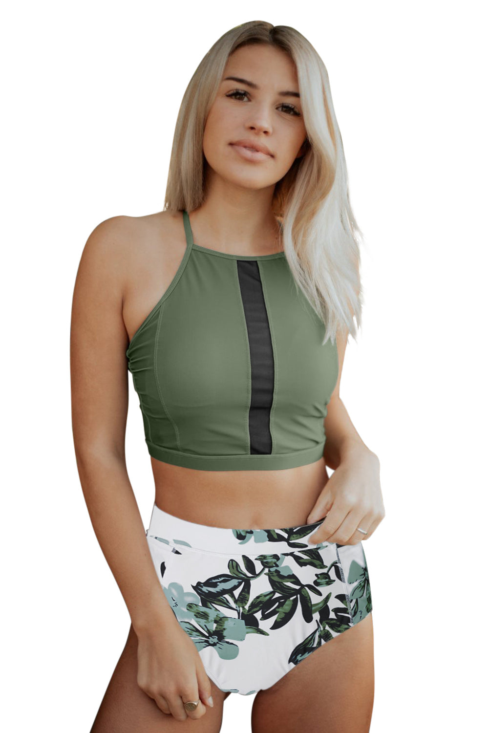 Green Criss Cross Crop High Waist Bikini Set