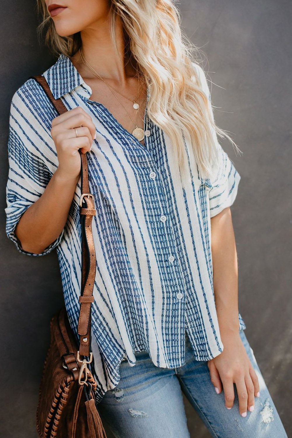 Sky Blue V Neck Stripes Roll up Sleeve Button Down Shirt