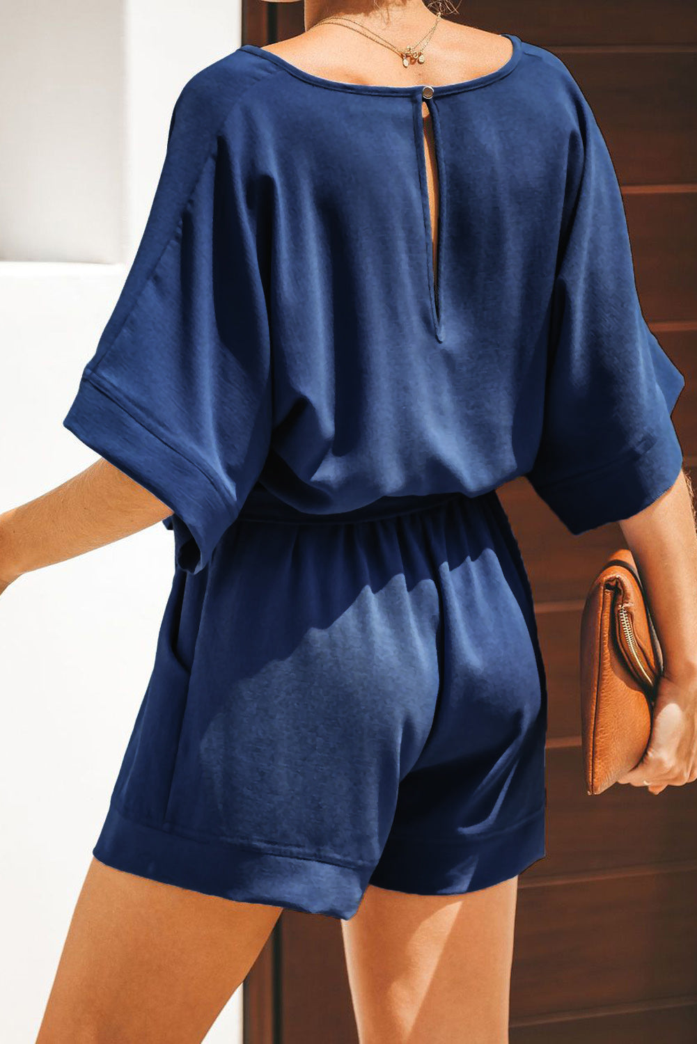 Blue Spring Scene Pocketed Tie Romper
