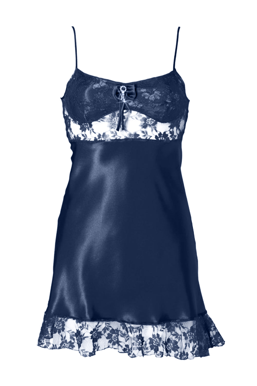 Blue Satin Lace Negligee Babydoll