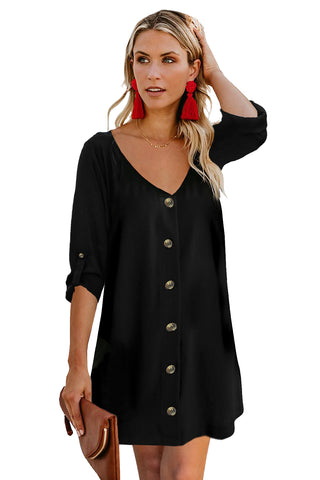 Rose V Neck Cuffed T-shirt Dress