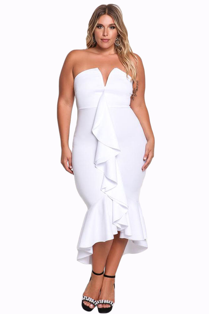 White Plus Size Strapless Cascading Ruffle Hi-Lo Dress