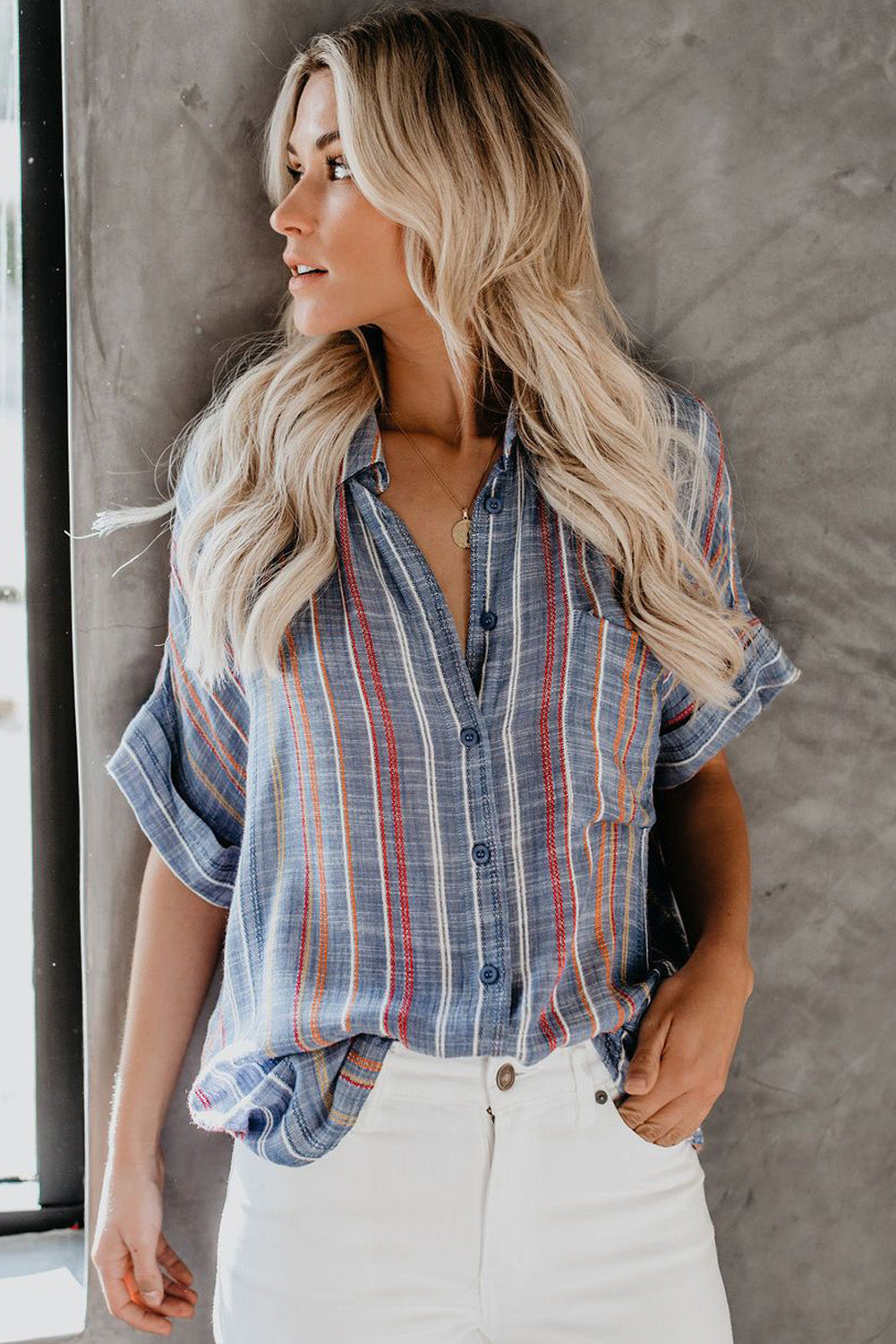 Blue V Neck Stripes Roll up Sleeve Button Down Shirt