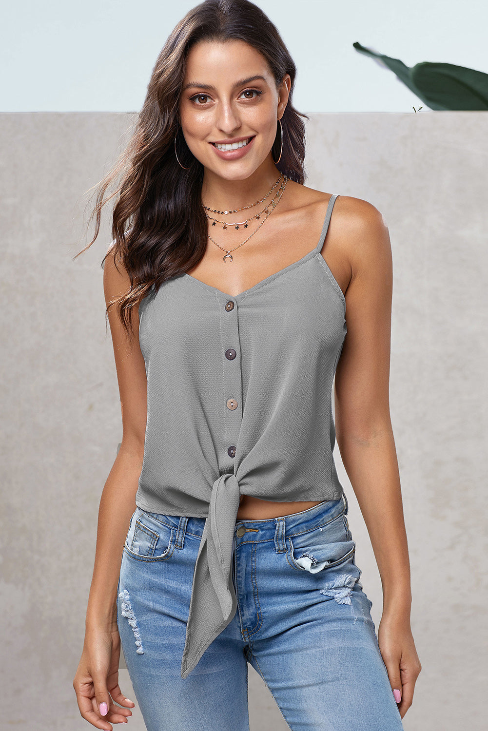 Gray Buttoned Knot Front Slip Tank