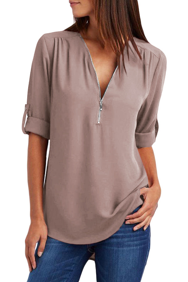 Khaki Casual V Neck Zip up Half Sleeve Blouse
