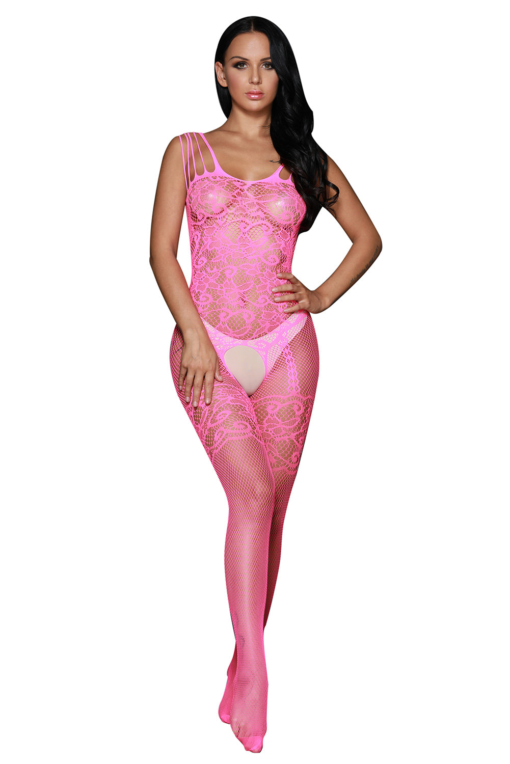 Rosy Strappy Shoulders Floral Motif Mesh Body Stockings