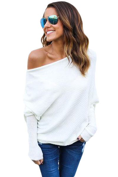 White Off Shoulder Bat Long Sleeves Loose Fit Sweater