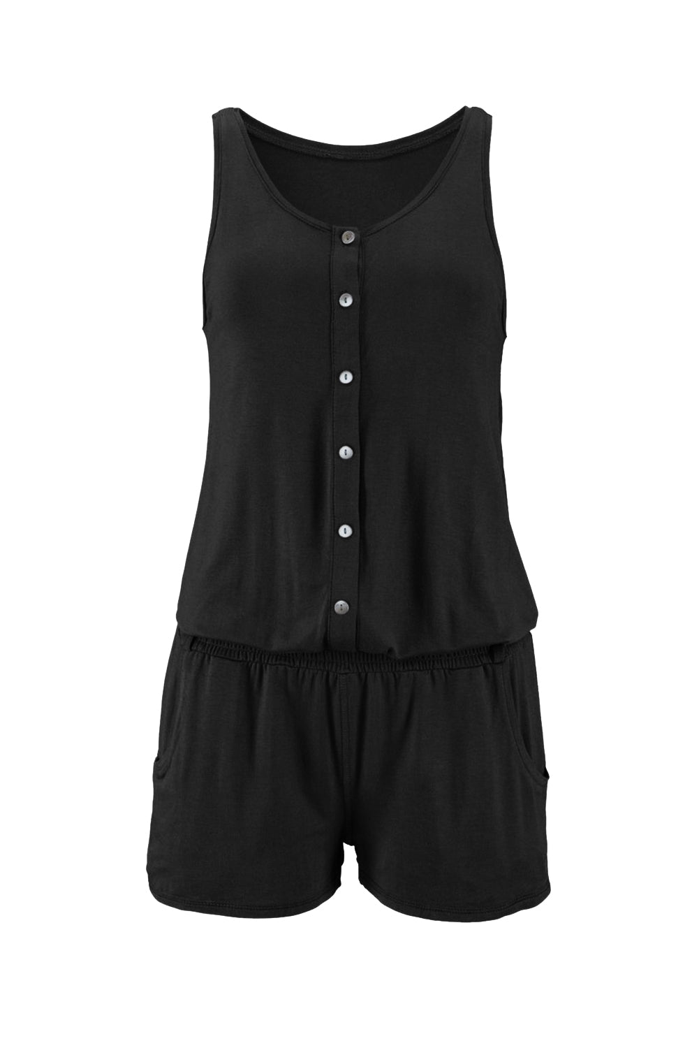 Solid Color Sleeveless Button jumpsuit in Black