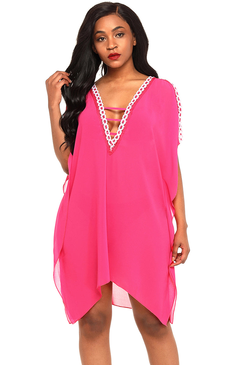 Delicate Embroidery Rosy Cold Shoulder Sheer Mesh Cover Up