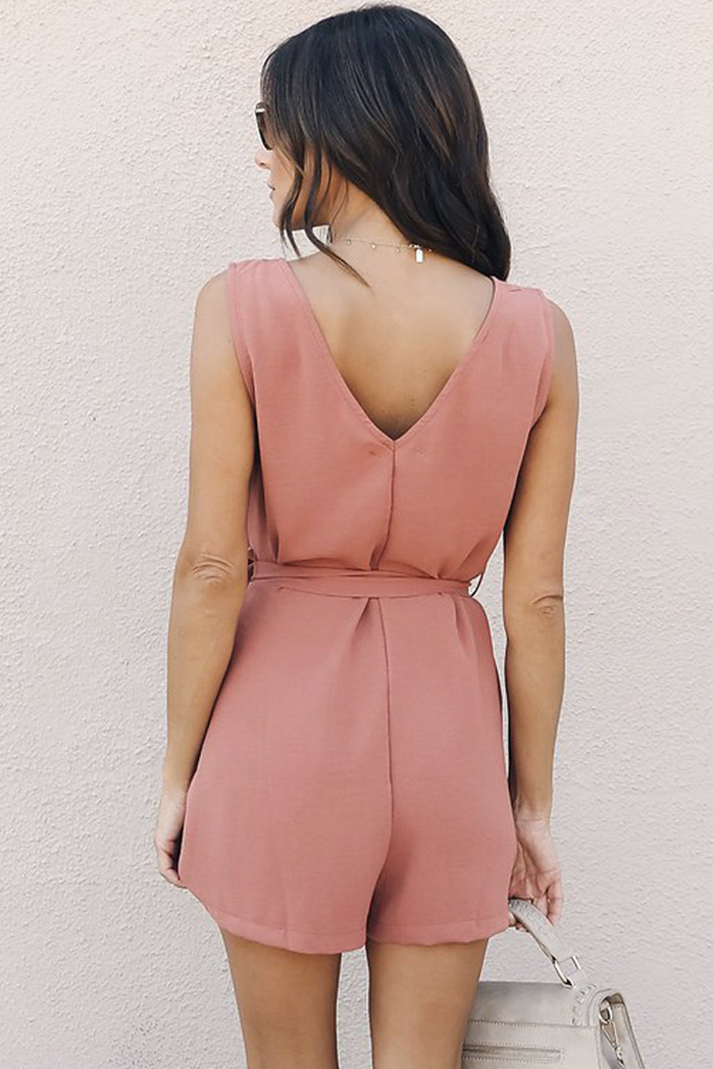 Pink Belted Button up Romper