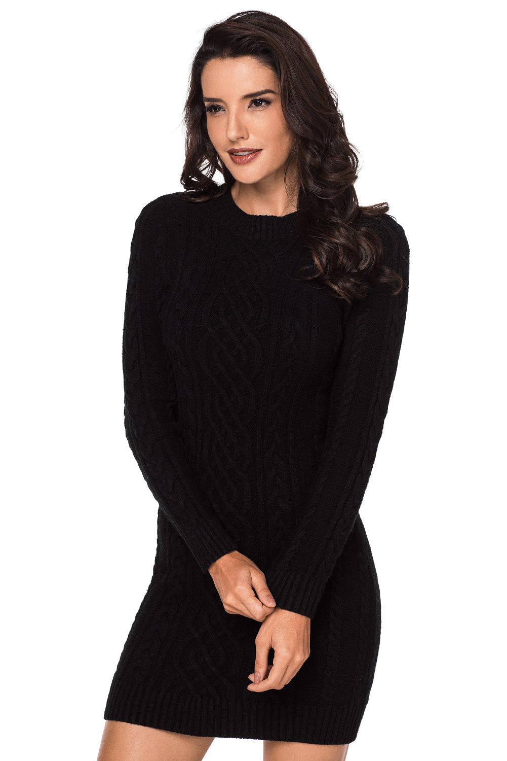 Black Slouchy Cable Sweater Dress