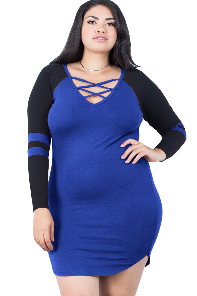 Royal Blue Black Plus Size Sporty Striped Dress