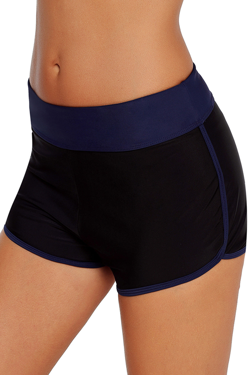 Contrast Navy Blue Trim Swim Board Shorts