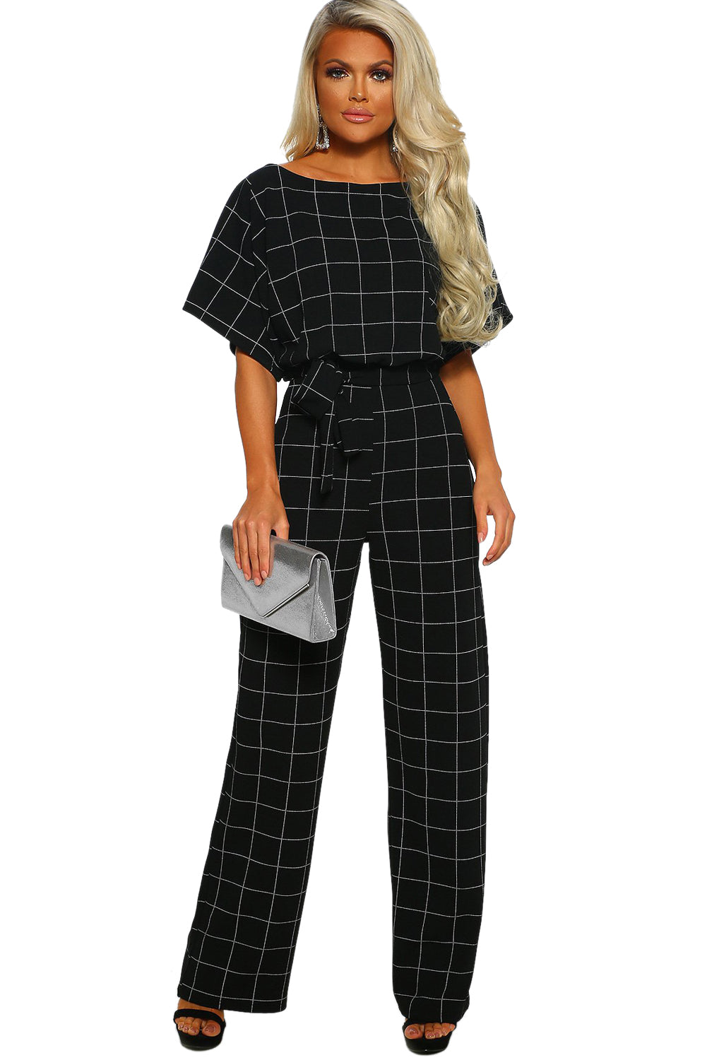 Game Changer Black Checked Belted Wide Leg Jumpsuit