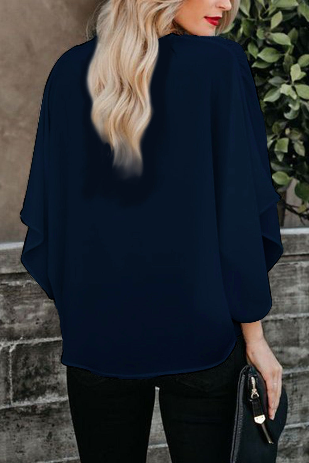 Blue Fashion Contrast Color V Neck Blouse