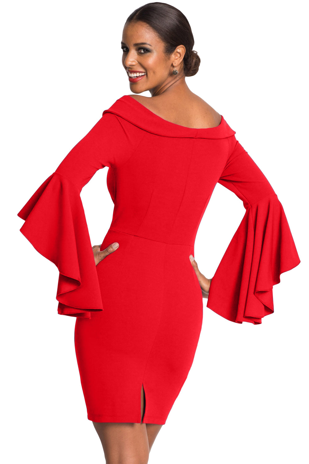 Red Double Breasted Button Off Shoulder Dress