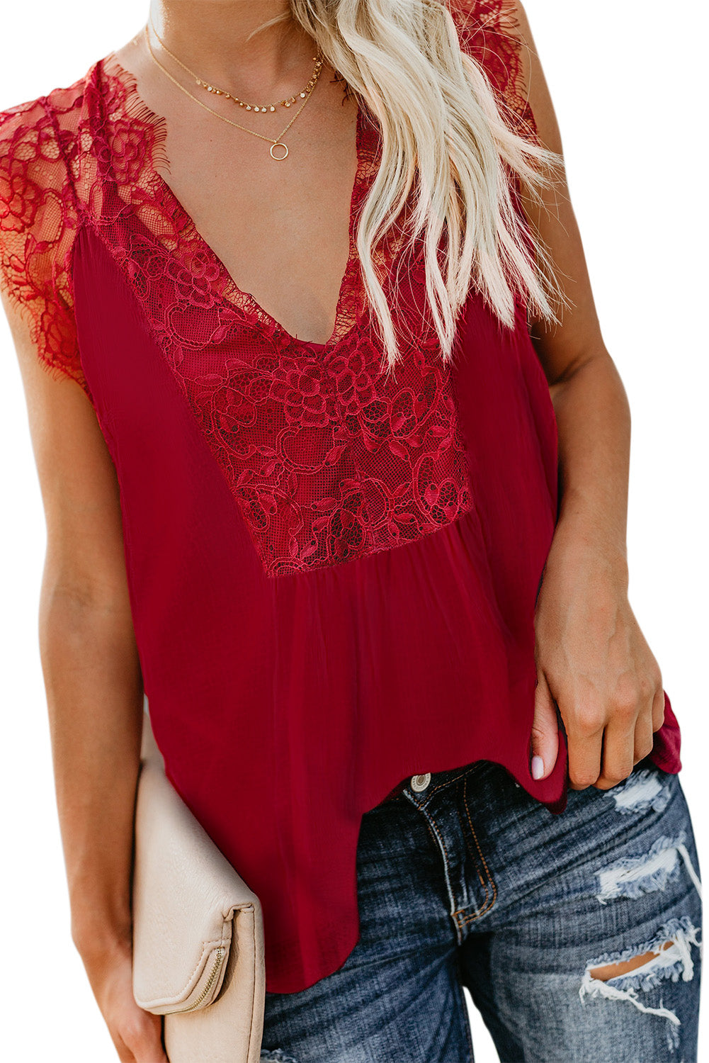 Red From A Dream Lace Top