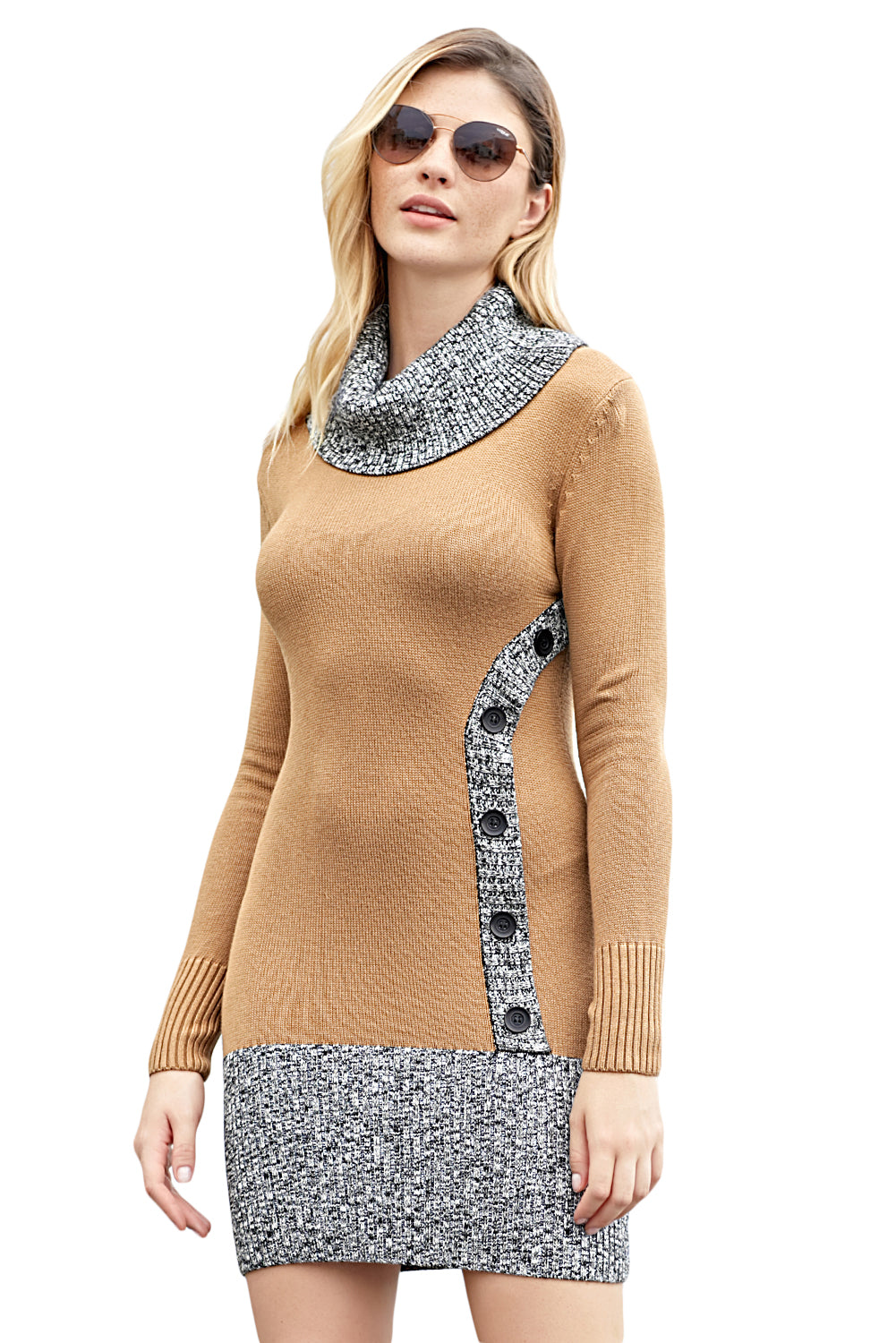 Khaki Gray Button Front Sweater Dress