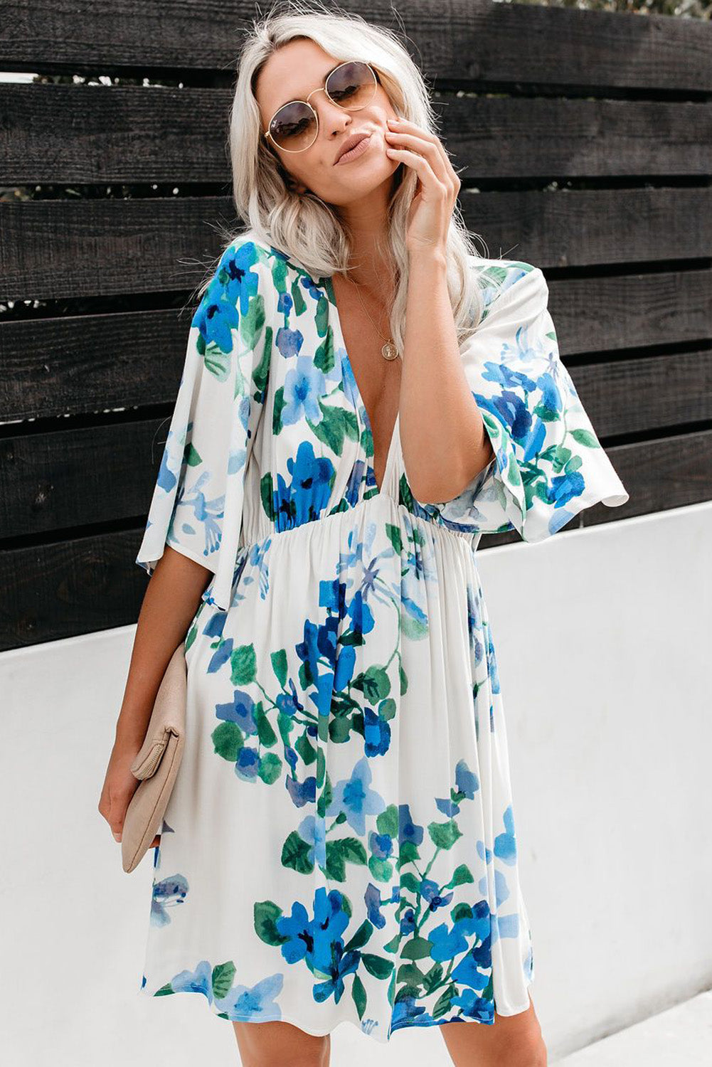 Sky Blue Hawaiian Babydoll Floral Dress