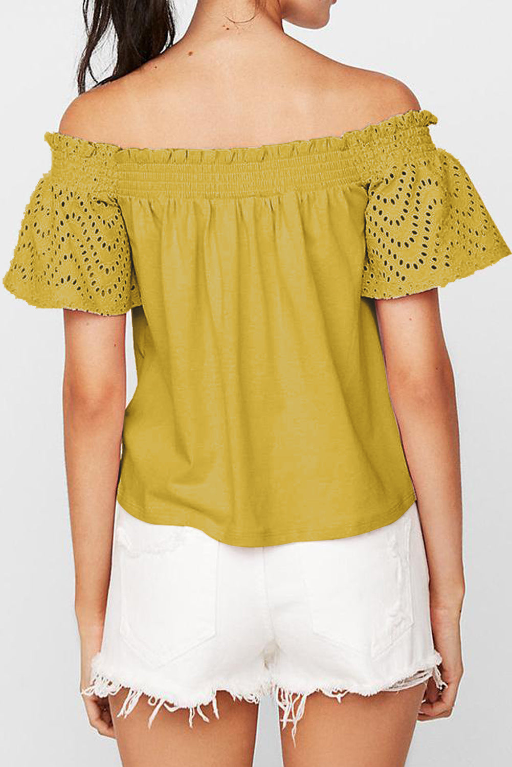 Yellow Solid Shirring Off Shoulder Hollow out Top