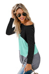 Green Color Block Crew Neck Blouse