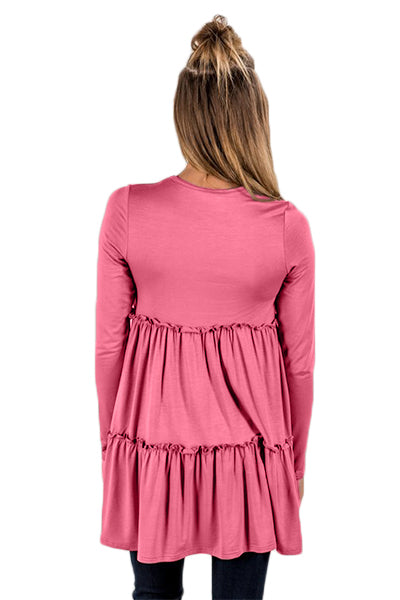 Pink Long Sleeve Layered Babydoll Tunic
