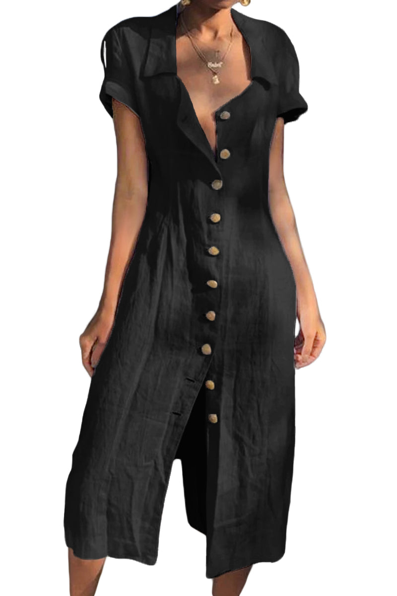 Black Summer Buttoned Casual Shirt Maxi Dress