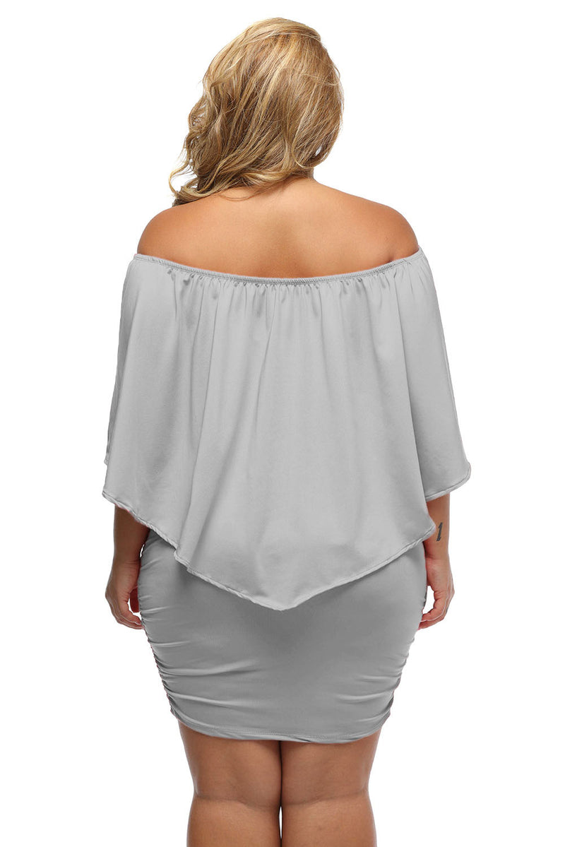 Plus Size Multiple Dressing Layered Grey Mini Poncho Dress