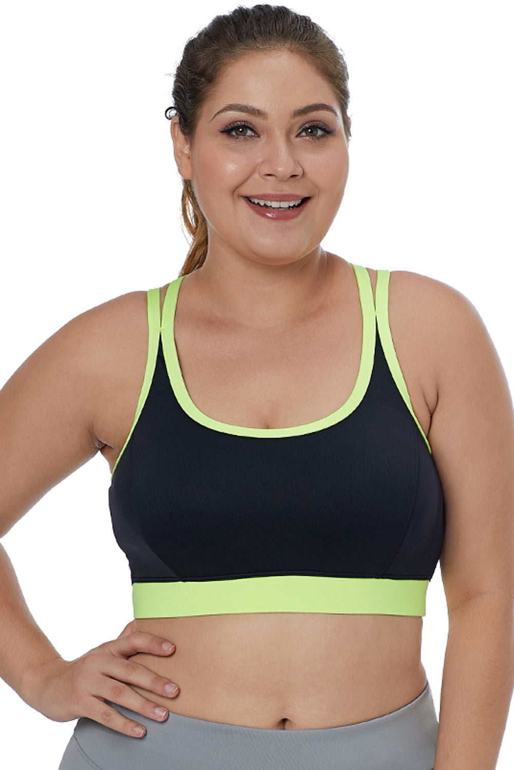 Lemon Double Straps Black Sports Bra