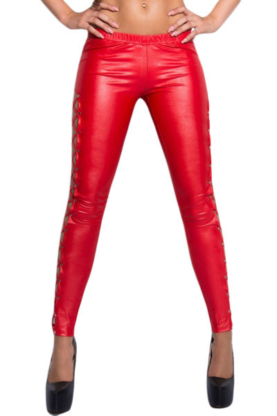 Stylish Lacing Sides Red Wet Look Leggings