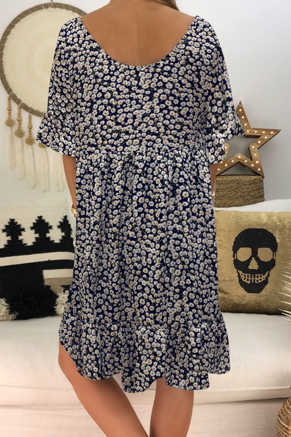 Black Loose Scoop Neck Floral Dress