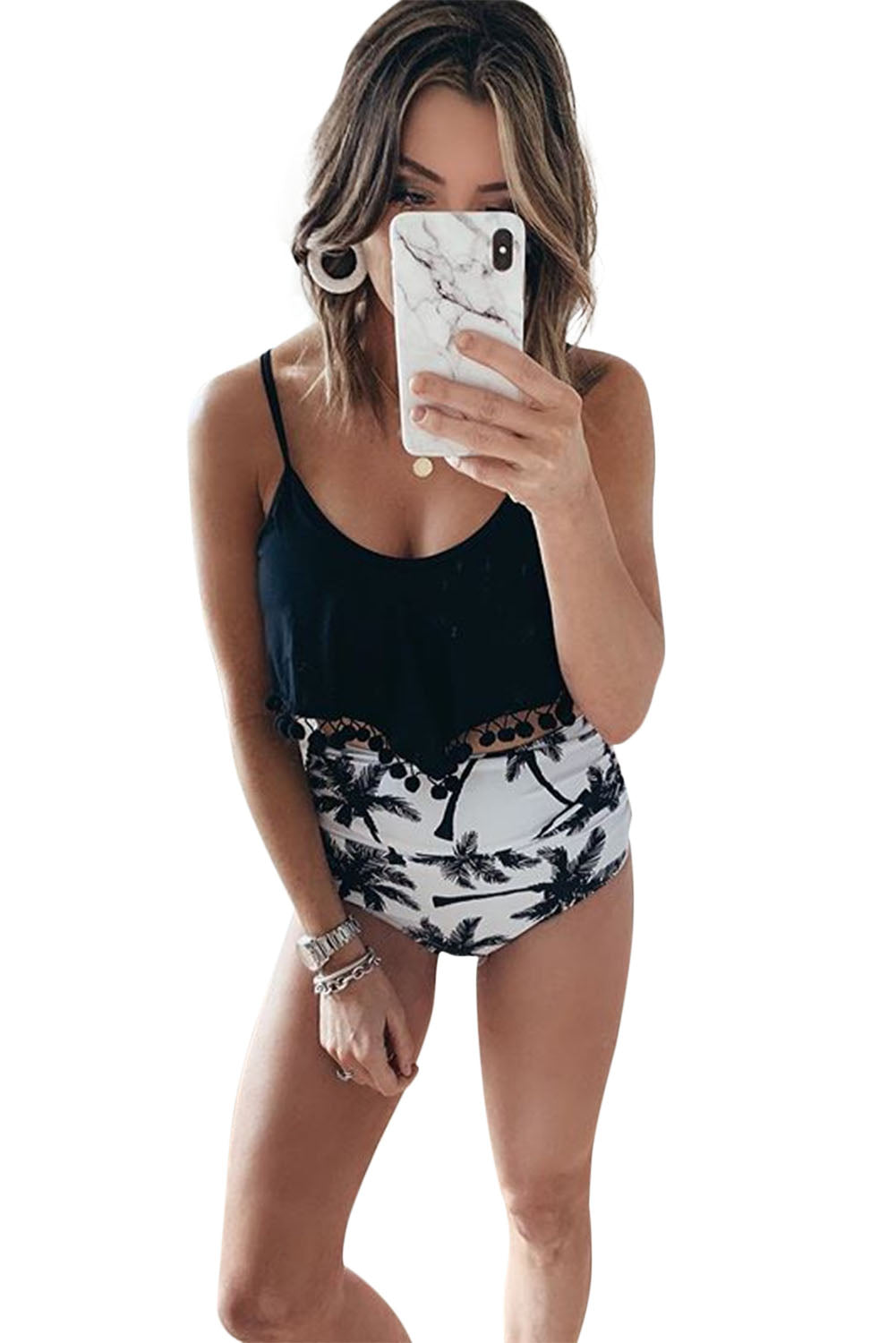 Black Print High Waist Swimsuit