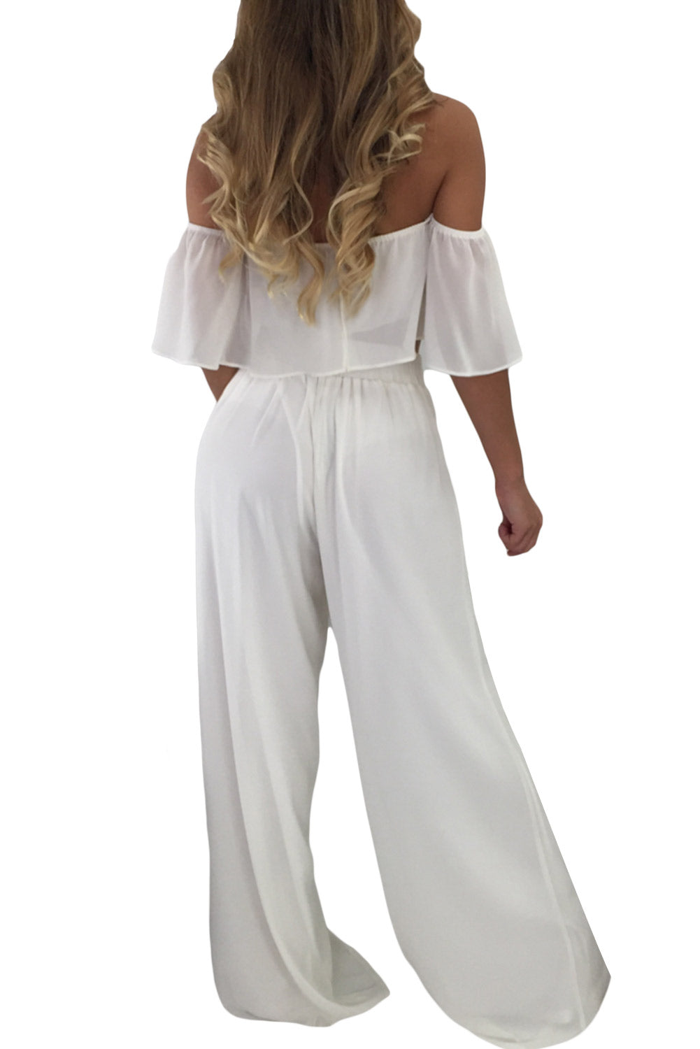 White Ruffle Crop Top & Wide Leg Pants Set