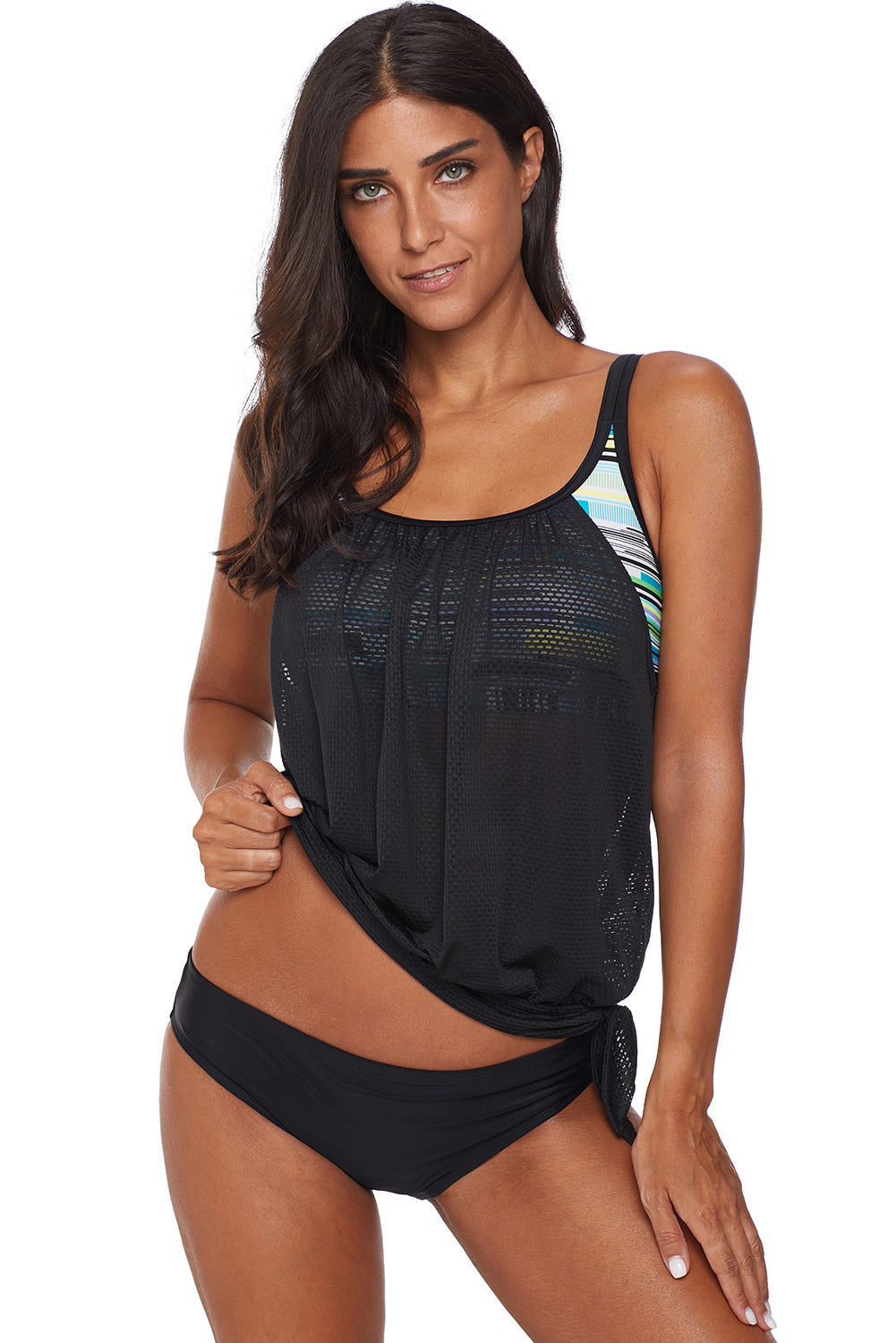 Multicolor Layered Tankini Top with Brief Swimsuit