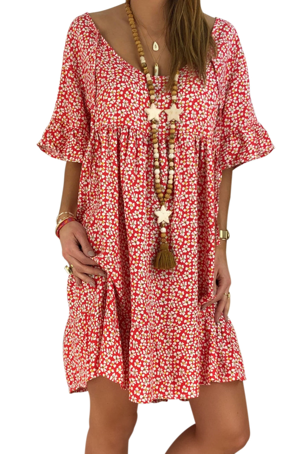 Red Loose Scoop Neck Floral Dress