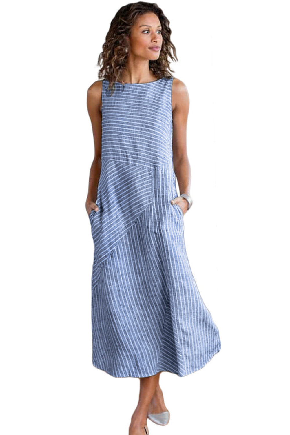 Sky Blue Crew Neck Striped Shift Daily Dress