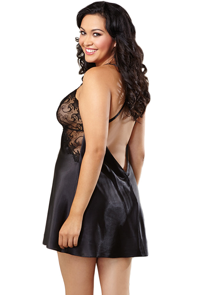 Plus Size Lace Cup Cross Back Chemise