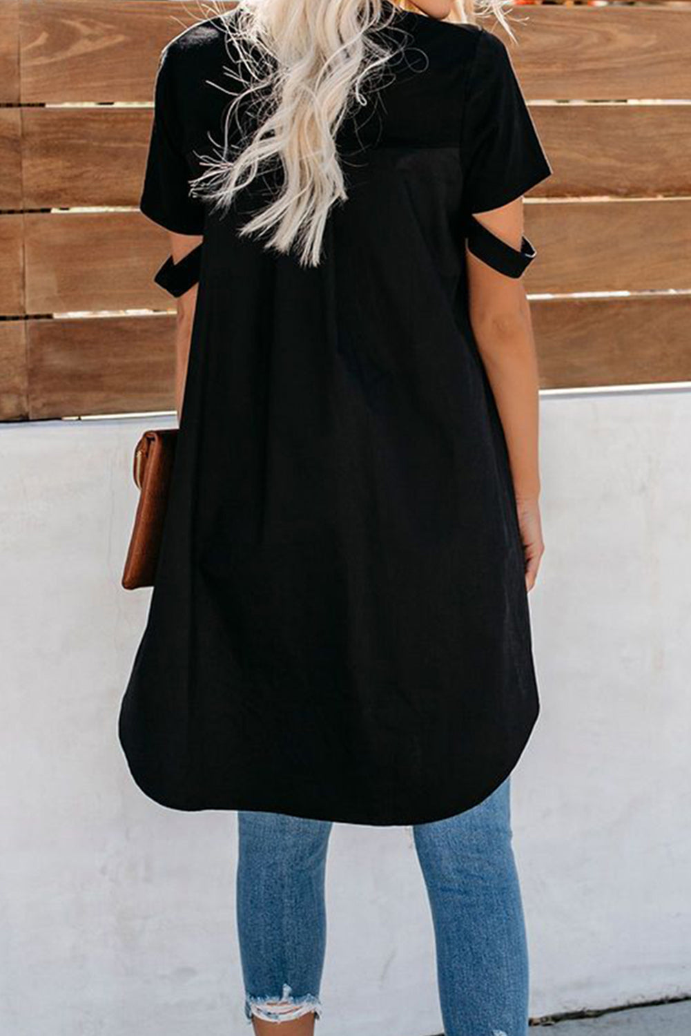 Black Defying Gravity High Low Knit Top