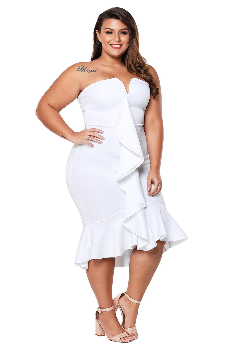 7d88c7952064d White Plus Size Strapless Cascading Ruffle Hi-Lo Dress – FabWoo