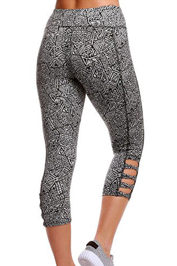 Monochrome Print Crisscross Detail Leggings
