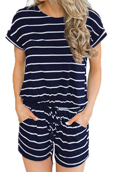 Nanvy Stripe Short Sleeve Drawstring Romper